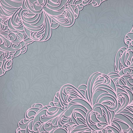 Invitation decoration on seamless background with lace ornament. EPS10. Vector