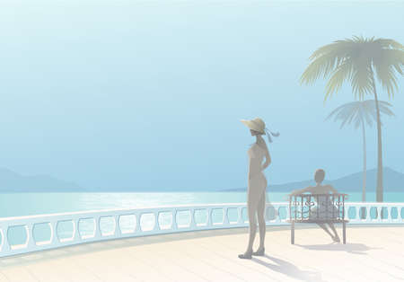 vacationers: seascape with two figures vacationers girls  EPS10