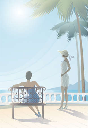 vacationers: lovely tranquil seascape with two figures vacationers girls   Illustration