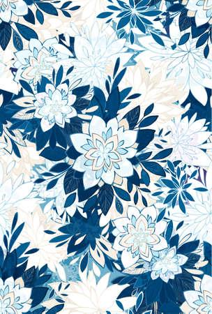 装飾的な花とのシームレスなエレガントなパターン。  イラスト・ベクター素材