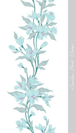 Stylish vintage floral seamless border.