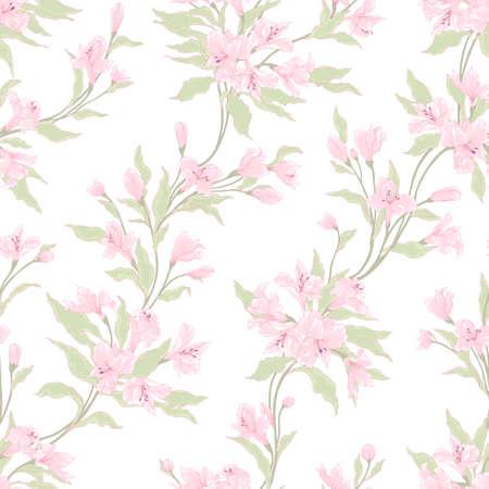 スタイリッシュなビンテージ シームレスな花柄。  イラスト・ベクター素材