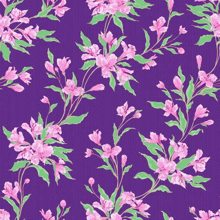 スタイリッシュなビンテージ花柄シームレス パターン。  イラスト・ベクター素材
