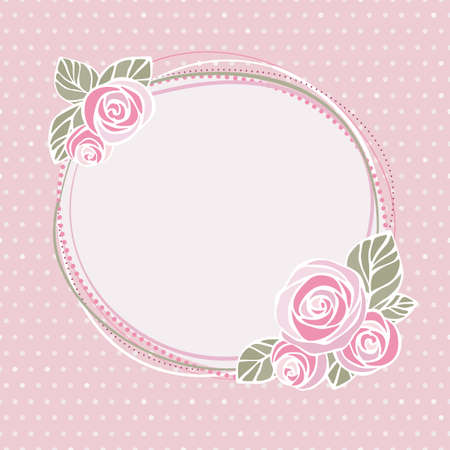 Decorative frame with roses on seamless polka dot background