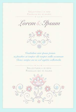 Invitation card in pastel colors. Illustration