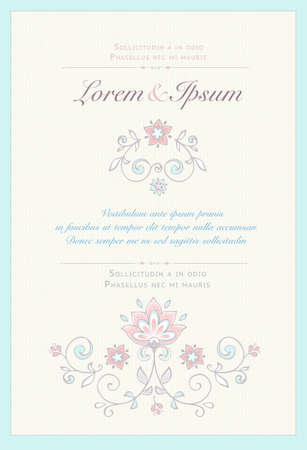 Invitation card in pastel colors. Illustration