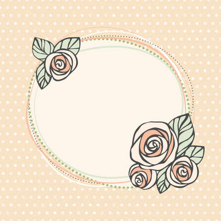 Vintage invitation card  Decorative frame with roses on seamless polka dot background  EPS10  Vector