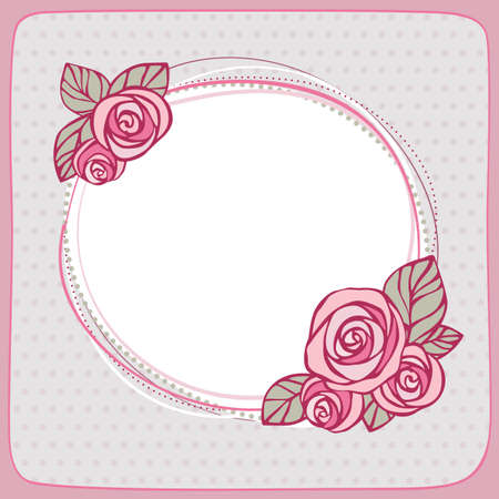 Decorative frame with roses on polka dot background Vector