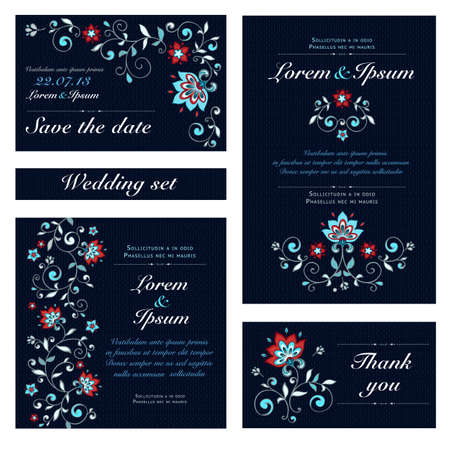 Invitation card set in original