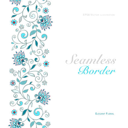 Card with seamless floral border  Illustration