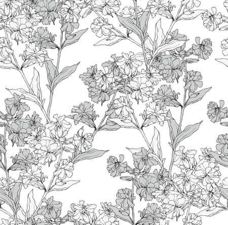 lijntekening: Vector naadloze bloemmotief met de hand getekende bloemen