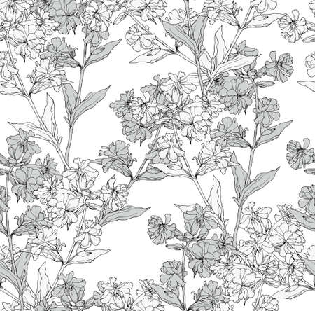 gray flower: Vector seamless floral pattern with hand drawn flowers
