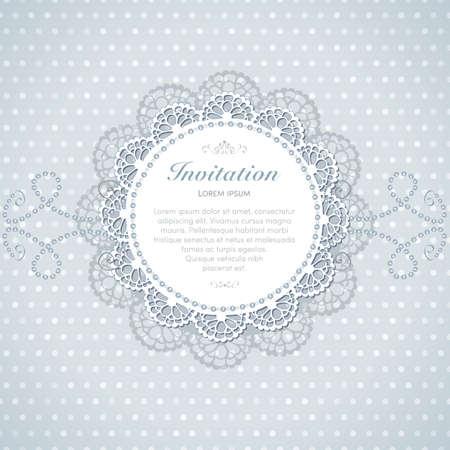 Vintage invitation card. Hand made decor on seamless polka dot background. Illustration