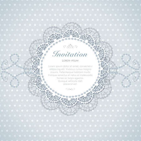 Vintage invitation card. Hand made decor on seamless polka dot background. Illustration