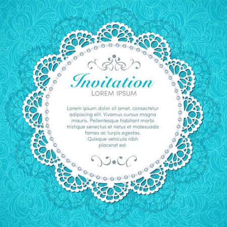 aquamarin: Vintage-Einladung Handgemachte Dekor auf nahtlose Spitzen Hintergrund
