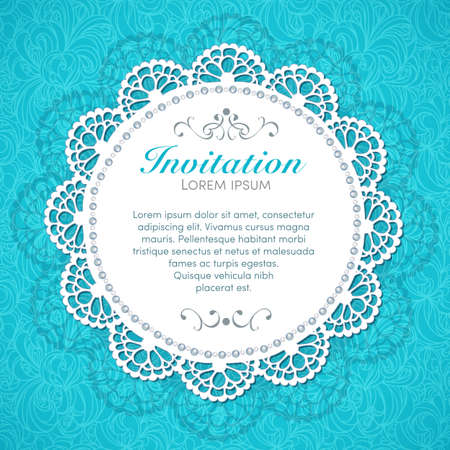 a round: Vintage invitation card  Hand made decor on seamless lace background