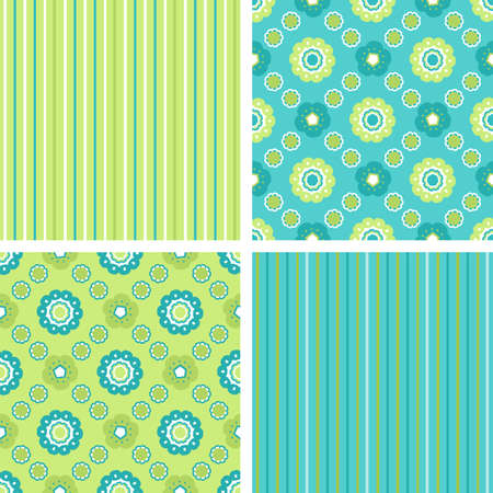 A set of seamless geometrical decorative floral and strip patterns