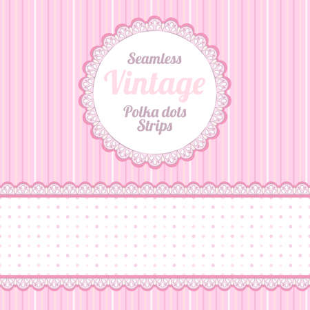 Design elements  seamless strips pattern, polka dot and border and round label  Vector
