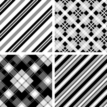 Set of seamless tartan and striped patterns in classic style.