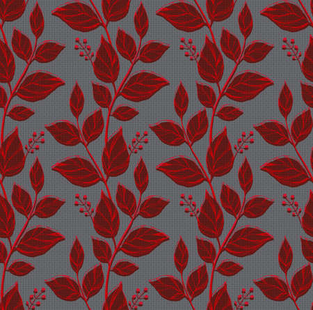 Seamless pattern with decorative leaves. Vector