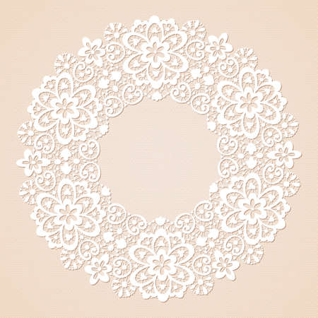 Ornamental round lace pattern textured background Vector