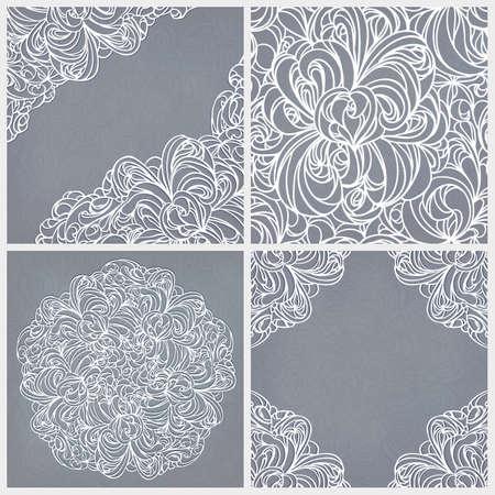 Vintage set  seamless lace pattern, round and corner decor  Illustration
