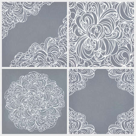 Vintage set  seamless lace pattern, round and corner decor  Illustration