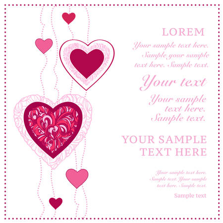 vector hearts: Card with ornamental hearts  Good for valentine day  Vector illustration