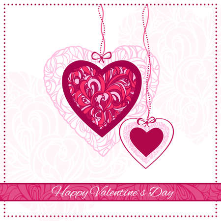 Valentine Day Card with ornamental hearts and greeting text  Vector illustration  Vector