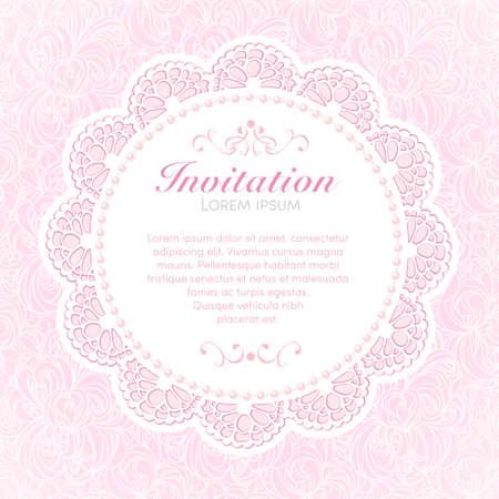 Vintage invitation card  Hand made decor on seamless lace background  EPS10  Illustration