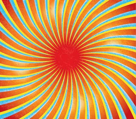 様式化された太陽とグランジ テクスチャと抽象的な背景。ヴィンテージ ・ スタイル。  イラスト・ベクター素材