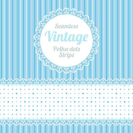 Design elements  seamless strips pattern, polka dot and border and round label  Illustration