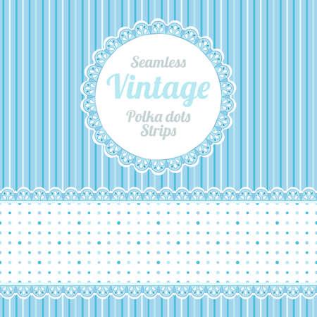 polkadot: Design elements  seamless strips pattern, polka dot and border and round label  Illustration