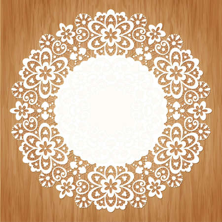 scrollwork: Ornamental round lace pattern on grunge background Illustration