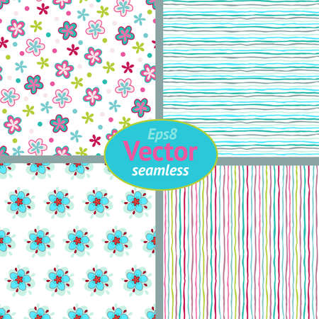 Set of seamless decorative floral and strip patterns.