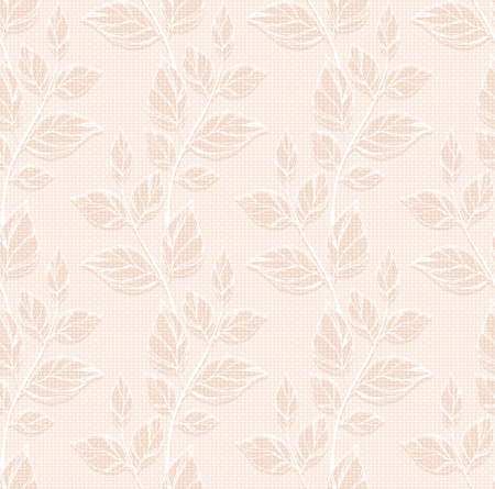 biege: Seamless pattern with decorative leaves. Illustration