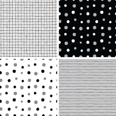 Set of seamless decorative polka dot, striped and checked patterns. Vector