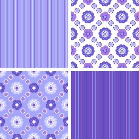 Set of seamless geometrical decorative floral and polka dots patterns