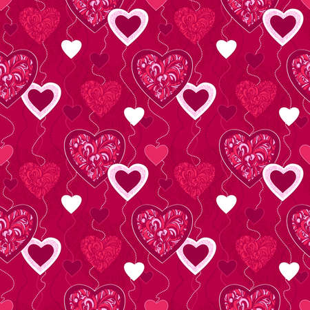 Seamless pattern with decorative hearts  Vector