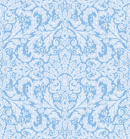 scrollwork: Seamless background baroque pattern, in delicate winter colors  Vintage style  Illustration