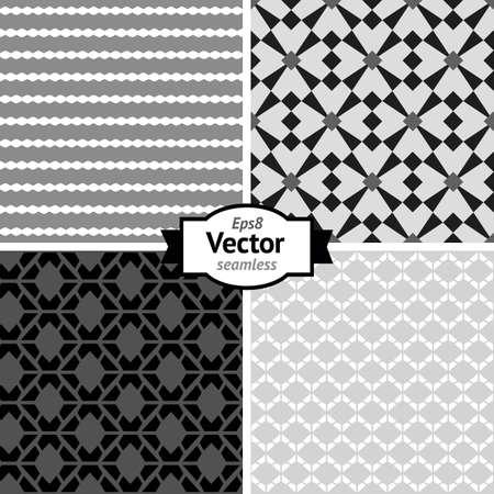 Set of vector seamless retro patterns  Geometric background  Illustration