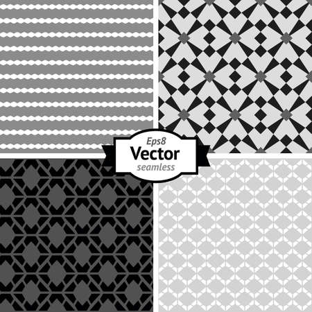 Set of vector seamless retro patterns  Geometric background  Illustration