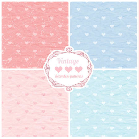 Set of vector seamless vintage patterns with hearts and decorative frame  Love background  Illustration