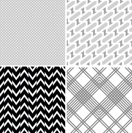 gray strip: Set of vector seamless retro patterns  Geometric background  Illustration