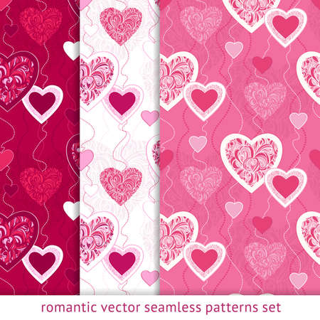 Seamless patterns with hearts. Valentines day. Love background. Illustration