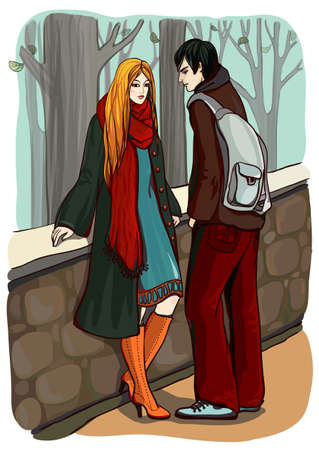 redhead woman: Young man and woman on a date  Vector illustration
