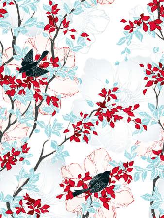 木、花、鳥とのシームレスなパターン。ビンテージの壁紙。ベクトルの図。