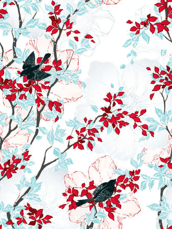 Seamless pattern with trees, flowers and birds. Vintage wallpaper. Vector illustration. Illustration