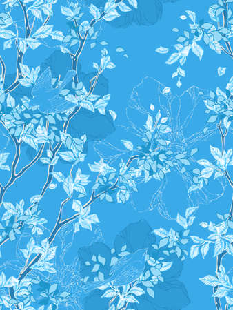 Seamless pattern with trees, flowers and birds. Vintage wallpaper. Vector illustration. Vector