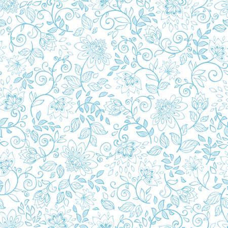 装飾的な花とのシームレスなパターン。ビンテージ壁紙。ベクトル イラスト。飾り。  イラスト・ベクター素材